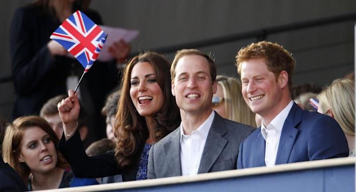 (L-R) Princess Beatrice, Catherine, Duchess of Cambridge, Prince William, Duke of Cambridge and Prince Harry are seen during the Diamond Jubilee, Buckingham Palace Concert May 04, 2012 in London, England. For only the second ime in it's history, the UK celebrates the Diamond Jubilee of a monarch. Her Majesty Queen Elizabeth II celebrates the 60th anniversary of her ascension to the throne. (Photo by Dave Thompson - WPA Pool/Getty Images)