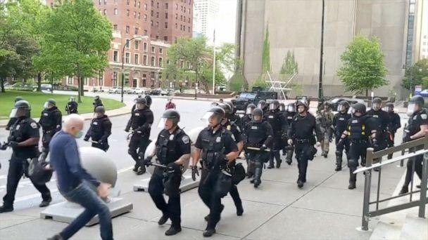 PHOTO: An elderly man falls after appearing to be shoved by riot police during a protest against the death in Minneapolis police custody of George Floyd, in Buffalo, New York, U.S. June 4, 2020 in this still image taken from video. WBFO/via (Wbfo/VIA Reuters TV)