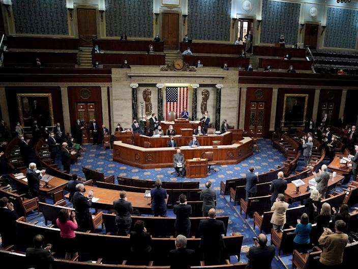 <p>The House of Representatives certifying Joe Biden's election victory.</p> (EPA)