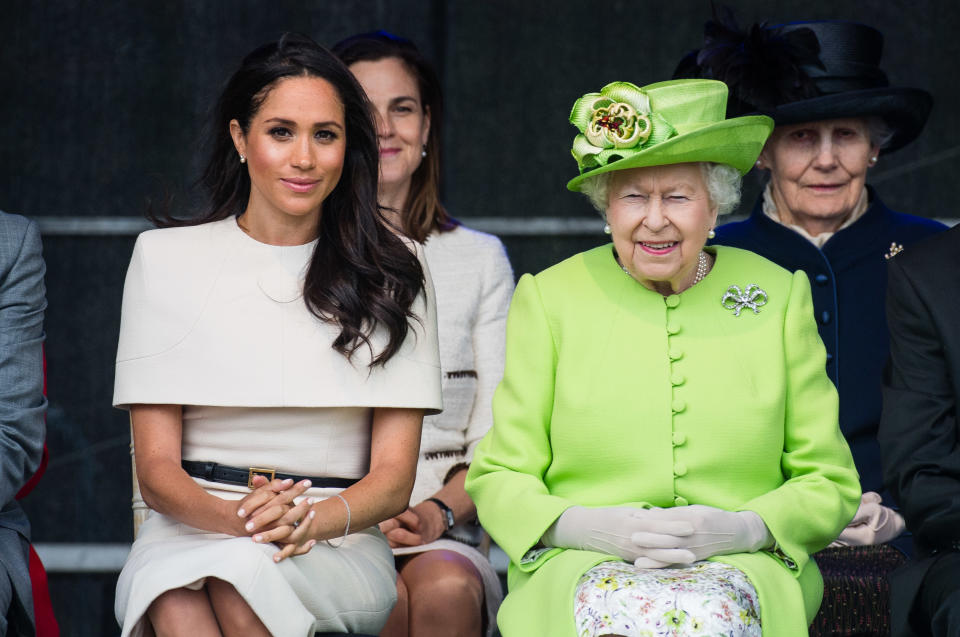 According to palace insiders, Queen Elizabeth was adamant that the 36-year-old Duchess of Sussex sign a prenuptial agreement before she married Prince Harry, in order to protect his $500 million fortune. Photo: Getty Images