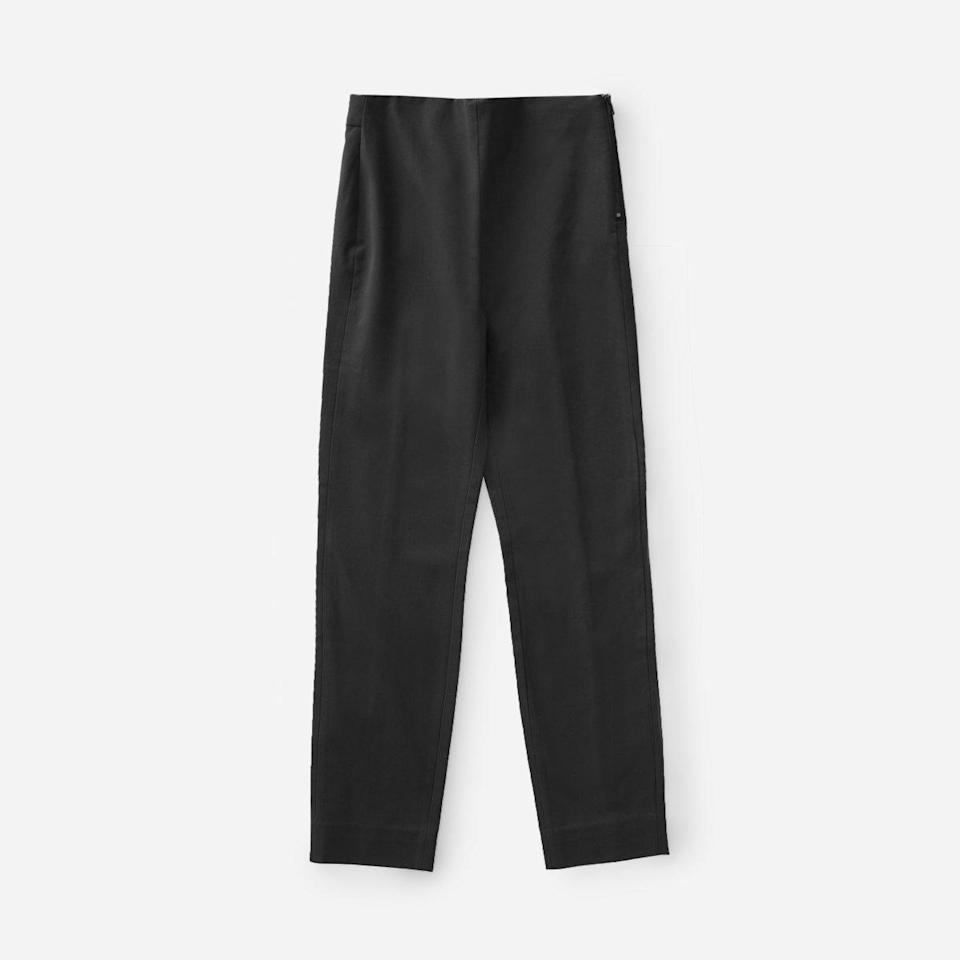 """<strong><h3>Everlane: The Work Appropriate Legging</h3></strong><br>Leggings to work? 500 Everlane reviewers say, """"Yes!"""" These stretchy, yet structured, leggings are just the trick to feeling comfortable during your 9-to-5.<br><br><strong>The hype:</strong> 4.55 out of 5 stars and 3,467 reviews on Everlane<br><br><strong>What they're saying:</strong> """"I bought these in black a few months ago and just bought them in green and blue as well. They are the perfect work pant — stretchy, wrinkle free, and comfortable! The side zip makes untucked shirts lay smoothly, and the elastic waistband gives you versatility if you do want to tuck your shirt... I've never been happier with a work pant!"""" - Katharine M, Everlane Review<br><br><strong>Everlane</strong> The Curvy Side-Zip Stretch Cotton Pant, $, available at <a href=""""https://go.skimresources.com/?id=30283X879131&url=https%3A%2F%2Fwww.everlane.com%2Fproducts%2Fwomens-curvy-side-zip-work-pant-black"""" rel=""""nofollow noopener"""" target=""""_blank"""" data-ylk=""""slk:Everlane"""" class=""""link rapid-noclick-resp"""">Everlane</a><br><br><strong>Everlane</strong> The Stretch Cotton Pant, $, available at <a href=""""https://go.skimresources.com/?id=30283X879131&url=https%3A%2F%2Fwww.everlane.com%2Fproducts%2Fwomens-work-pant-regular-black"""" rel=""""nofollow noopener"""" target=""""_blank"""" data-ylk=""""slk:Everlane"""" class=""""link rapid-noclick-resp"""">Everlane</a>"""