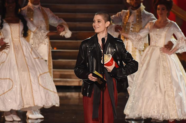 Actor Asia Kate Dillon speaks onstage during the 2017 MTV Movie And TV Awards at The Shrine Auditorium on May 7, 2017 in Los Angeles, California.