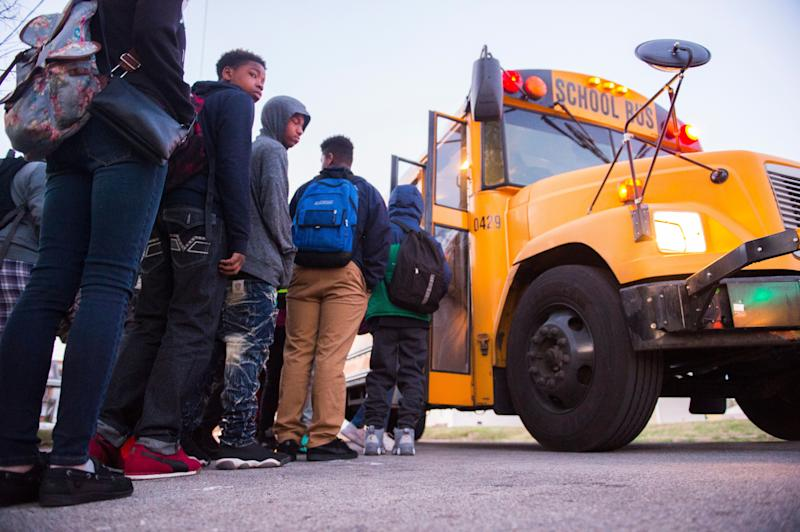 Students board a bus heading to Atherton High School on March, 2, 2017, in Louisville, Kentucky.  (Photo: Michael Noble Jr. for The Washington Post via Getty Images)