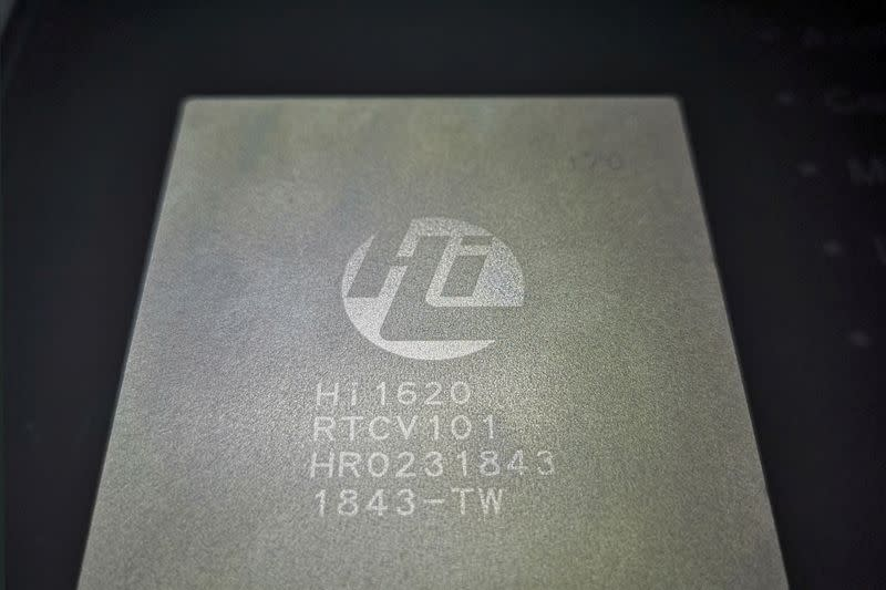 FILE PHOTO: Kunpeng 920 chip designed by Huawei's Hisilicon subsidiary bearing the internal name of Hi1620 is on display during a launch event at the Huawei's headquarters in Shenzhen