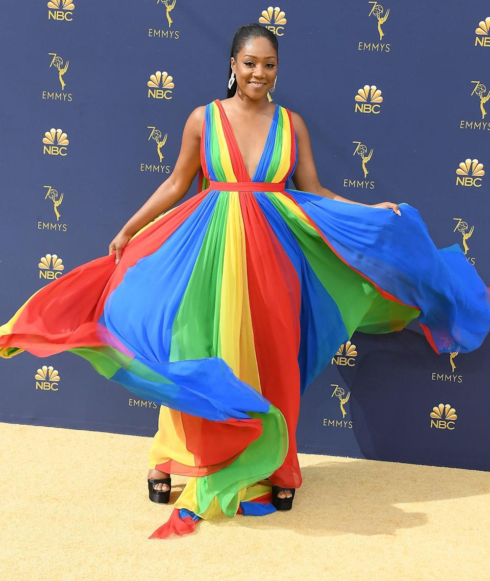 <p>It's not often you see this much color on the red carpet, but with Roach and with Prabal Gurung, there are no rules.</p>