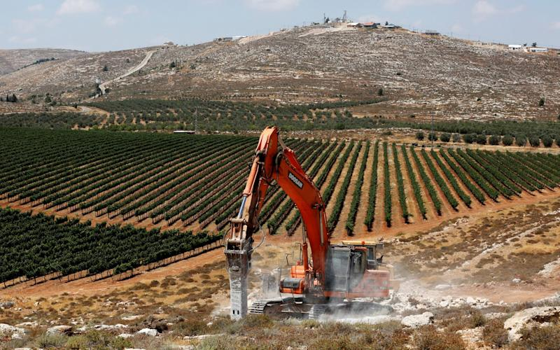 Work began on the new West Bank settlement of Amichai last year - REUTERS