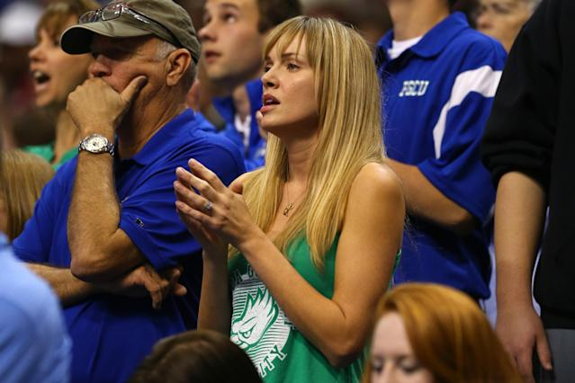PHILADELPHIA, PA - MARCH 24: Amanda Marcum, the wife of head coach Andy Enfield of the Florida Gulf Coast Eagles, watches in the second half against the San Diego State Aztecs during the third round of the 2013 NCAA Men's Basketball Tournament at Wells Fargo Center on March 24, 2013 in Philadelphia, Pennsylvania. (Photo by Elsa/Getty Images)