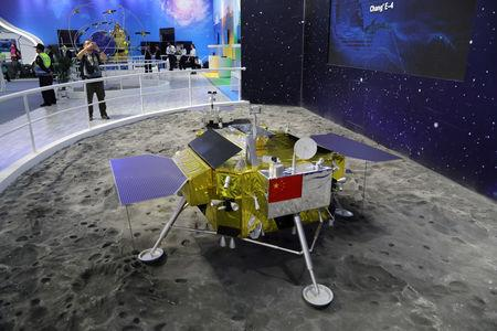 A model of the moon lander for China's Chang'e 4 lunar probe is displayed at the China International Aviation and Aerospace Exhibition, or Zhuhai Airshow, in Zhuhai, Guangdong province, China November 6, 2018. Wang Xu/China Space News via REUTERS/Files