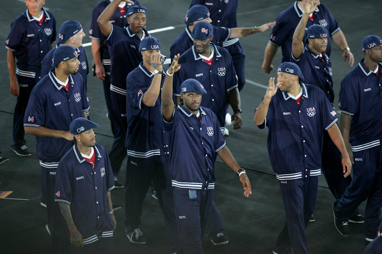 LeBron James (center) and other Members of the United States' Olympic team during the Parade of Nations at the Opening Ceremonies of the Athens 2004 Olympic Games at Olympic Stadium on August 13, 2004. (Photo by Allen Kee/WireImage)