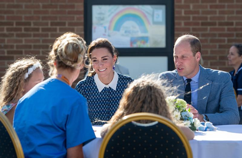 The Duke and Duchess of Cambridge meeting nurse Suzie Vaughan and daughters Hettie and Bella, during their visit to Queen Elizabeth Hospital in King's Lynn as part of the NHS birthday celebrations.