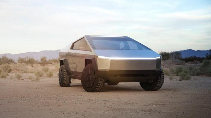 Tesla's Cybertruck brings the post-apocalyptic future to the present day. - Credit: Tesla