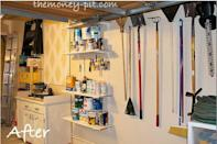 """<p>But all it takes are some shelves and hooks to turn the wall into a work station for outdoor chores and DIY projects.</p><p><em><a href=""""http://www.thekimsixfix.com/p/before-and-after.html"""" rel=""""nofollow noopener"""" target=""""_blank"""" data-ylk=""""slk:See more at The Kim Six Fix »"""" class=""""link rapid-noclick-resp"""">See more at The Kim Six Fix »</a></em></p><p><strong>What you'll need: </strong><span class=""""redactor-invisible-space"""">wall storage systems, $30, <a href=""""https://www.amazon.com/Adjustable-Storage-System-Holders-Organizer/dp/B01HEQC0S2/?tag=syn-yahoo-20&ascsubtag=%5Bartid%7C10072.g.36006557%5Bsrc%7Cyahoo-us"""" rel=""""nofollow noopener"""" target=""""_blank"""" data-ylk=""""slk:amazon.com"""" class=""""link rapid-noclick-resp"""">amazon.com</a></span><br></p>"""