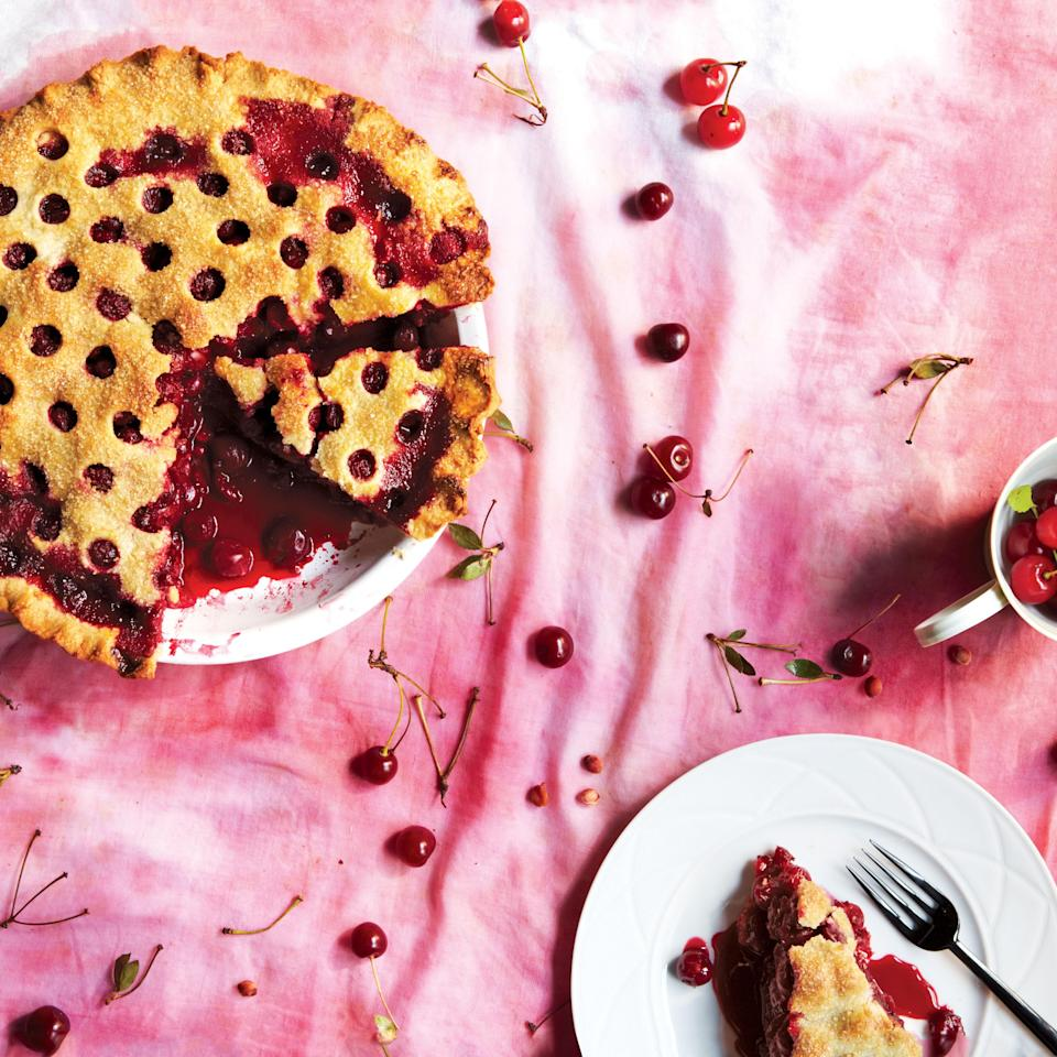 """Almond flour is the key to achieving the nutty, flaky topping on this tart-sweet pie. Yes, ice cream is optional but recommended. <a href=""""https://www.epicurious.com/recipes/food/views/sour-cherry-pie-51236300?mbid=synd_yahoo_rss"""" rel=""""nofollow noopener"""" target=""""_blank"""" data-ylk=""""slk:See recipe."""" class=""""link rapid-noclick-resp"""">See recipe.</a>"""