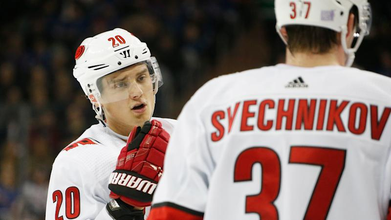 The Carolina Hurricanes star takes some jabs at his fellow countryman. (Photo by Jared Silber/NHLI via Getty Images)