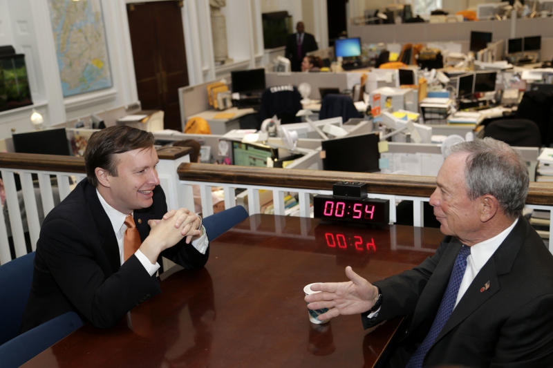 New York City Mayor Michael Bloomberg. right, meets with Sen. Chris Murphy, D-Conn., at City Hall in New York, Monday, April 15, 2013. In a bipartisan 68-31 vote Thursday, senators rejected an effort by conservatives to block debate on Democrats' gun control legislation, a measure backed by President Barack Obama. The National Rifle Association, a foe of the Democratic bill, was sponsoring a NASCAR race in Fort Worth, Texas, and using tweets to urge its supporters to watch it on television. Murphy has asked the Fox network not to broadcast the event, but it was still scheduled to be televised. (AP Photo/Seth Wenig)