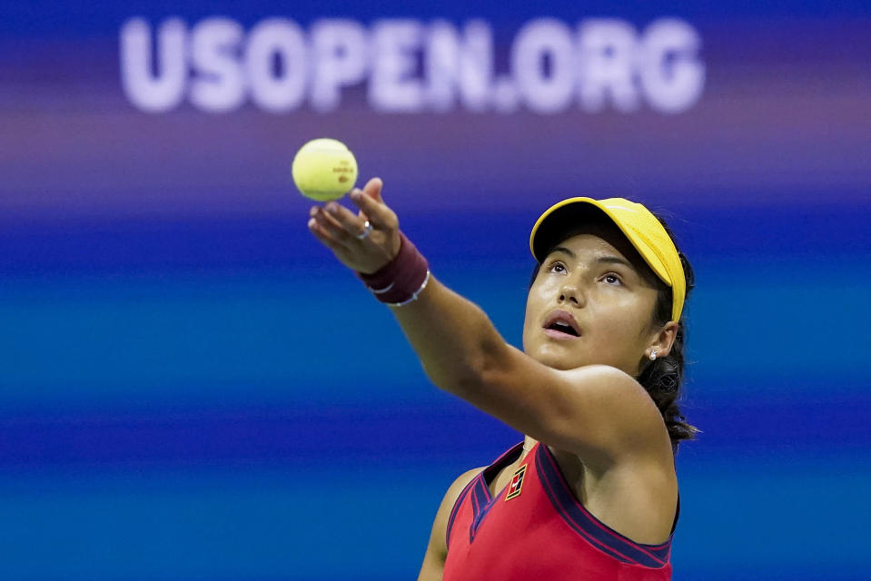 Emma Raducanu, of Great Britain, serves to Maria Sakkari, of Greece, during the semifinals of the US Open tennis championships, Thursday, Sept. 9, 2021, in New York. (AP Photo/Elise Amendola)