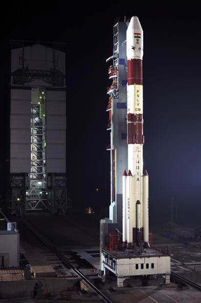 Ready to take off from the launch pad at Sriharikotha, 100 km north of Chennai.