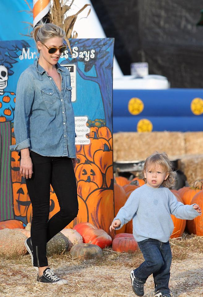 October 18, 2012: Ali Larter and her husband take their son, Theodore, to the pumpkin patch in West Hollywood, Ca.