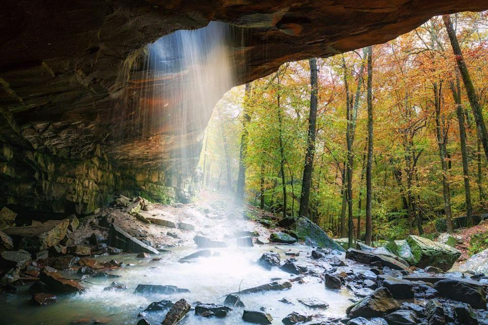"""<p>If you have more availability in late October and even early November, a trip to see <a href=""""http://www.ozarkmtns.com/foliage/index.asp"""" rel=""""nofollow noopener"""" target=""""_blank"""" data-ylk=""""slk:foliage in the Ozarks"""" class=""""link rapid-noclick-resp"""">foliage in the Ozarks</a> is ideal. The state peaks a bit later in the autumn season, but you're still guaranteed some amazing views. Check out the state's roundup of best driving tours in the area <a href=""""https://www.arkansas.com/articles/best-fall-drives-ozarks#:~:text=Normally%2C%20the%20peak%20of%20color,the%20southern%20and%20eastern%20sections."""" rel=""""nofollow noopener"""" target=""""_blank"""" data-ylk=""""slk:here."""" class=""""link rapid-noclick-resp"""">here.</a></p>"""