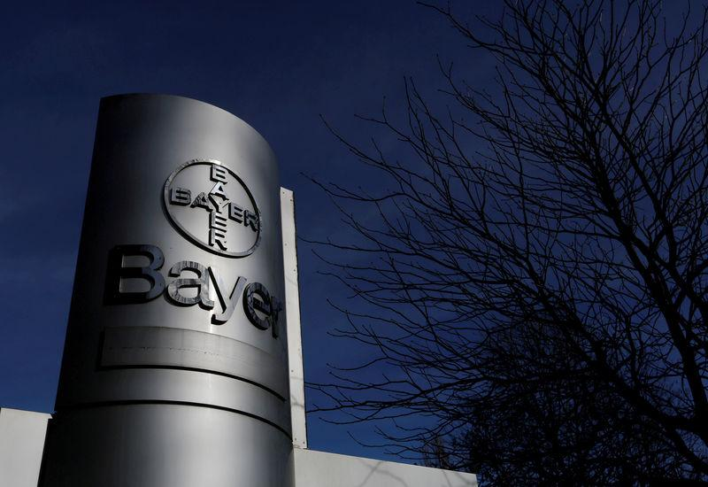 FILE PHOTO: The logo of Bayer AG is pictured at the Bayer Healthcare subgroup production plant in Wuppertal