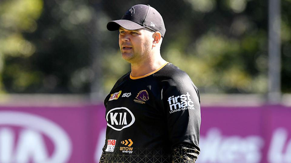 Pictured here, Broncos coach Anthony Seibold at training.
