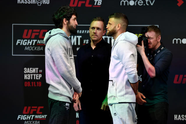 (L-R) Zabit Magomedsharipov and Calvin Kattar face off during A news conference at Arbat Hall on Nov. 7, 2019 in Moscow, Russia. (Photo by Jeff Bottari/Zuffa LLC via Getty Images)
