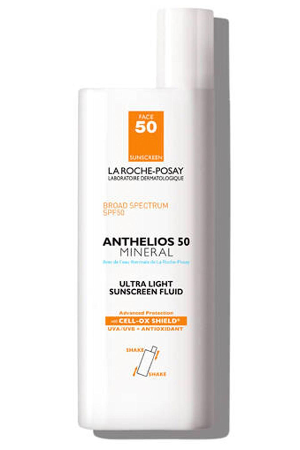 """<p><strong>La Roche-Posay</strong></p><p>ulta.com</p><p><strong>$33.50</strong></p><p><a href=""""https://go.redirectingat.com?id=74968X1596630&url=https%3A%2F%2Fwww.ulta.com%2Fanthelios-50-mineral-ultra-light-sunscreen-fluid-spf-50%3FproductId%3DxlsImpprod3840051&sref=https%3A%2F%2Fwww.townandcountrymag.com%2Fstyle%2Fbeauty-products%2Fg27889502%2Fbest-face-sunscreen%2F"""" rel=""""nofollow noopener"""" target=""""_blank"""" data-ylk=""""slk:Shop Now"""" class=""""link rapid-noclick-resp"""">Shop Now</a></p><p>A hard-working formula that blocks UVA and UVB with titanium dioxide and zinc oxide while also battling free-radical damage with a potent antioxidant complex. Best of all, it feels utterly weightless on skin, absorbing easily and undetectably.</p>"""