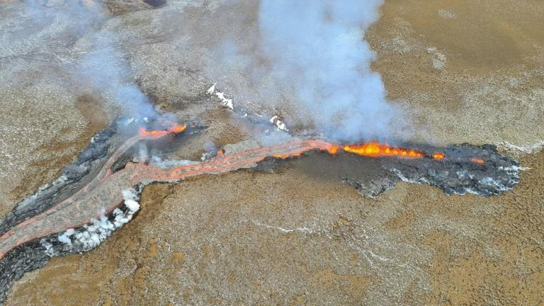 Lava is flowing for hundreds of metres from the new fissure into the Merardalir valley