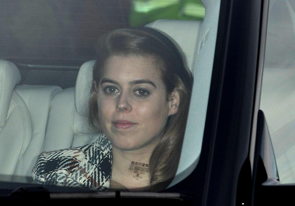<p>The Queen's granddaughter Princess Beatrice arrived wearing a plaid coat [Photo: Rex] </p>
