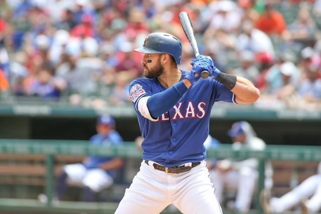 Texas Rangers outfielder Joey Gallo is staying busy by taking batting practice in his home. (Photo by George Walker/Icon Sportswire via Getty Images)