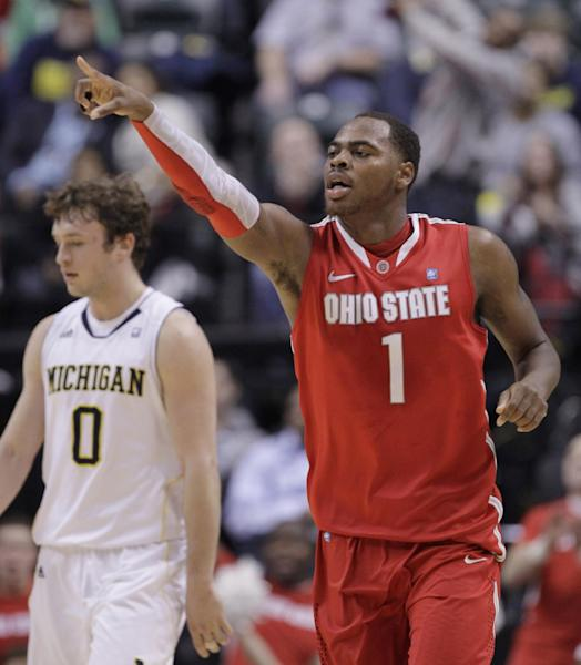 Ohio State forward Deshaun Thomas (1) reacts in the second half of an NCAA college basketball game in the semifinals of the Big Ten Conference tournament in Indianapolis, Saturday, March 10, 2012. At left is Michigan forward Zack Novak (0). (AP Photo/Michael Conroy)