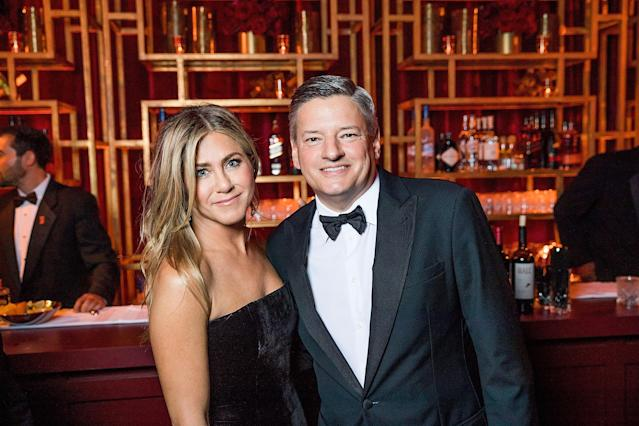 Aniston and Sarandos at the Netflix after-party following the 2018 Golden Globes. (Photo: Getty Images)
