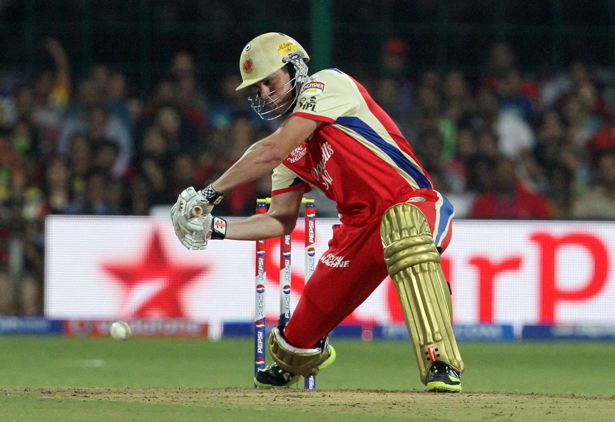 Royal Challengers Bangalore player Moises Henriques plays a shot during match 70 of the Pepsi Indian Premier League between The Royal Challengers Bangalore and The Chennai Super Kings held at the M. Chinnaswamy Stadium, Bengaluru  on the 18th May 2013. (BCCI)