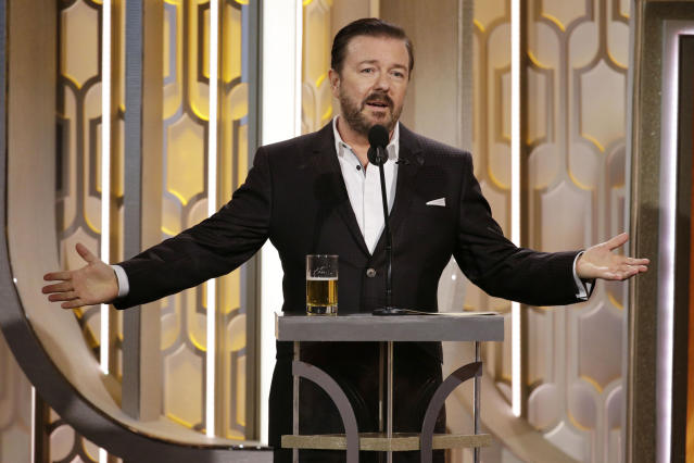 Ricky Gervais speaks onstage during the 73rd Annual Golden Globe Awards at The Beverly Hilton Hotel on January 10, 2016 (Paul Drinkwater/NBCUniversal via Getty Images)