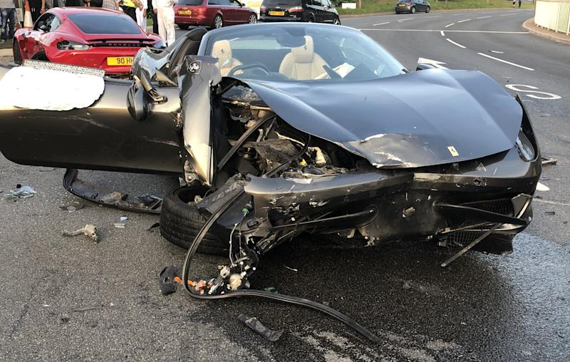 The Ferrari after the crash. (SWNS)