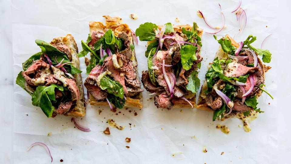 """Mark your calendar: It's steak sandwich night in America. (Feeling virtuous? Remove the bread and…voilà: steak salad!) <a href=""""https://www.bonappetit.com/recipe/open-face-steak-sandwich-with-parmesan-dressing?mbid=synd_yahoo_rss"""" rel=""""nofollow noopener"""" target=""""_blank"""" data-ylk=""""slk:See recipe."""" class=""""link rapid-noclick-resp"""">See recipe.</a>"""