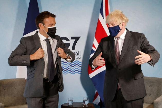 Britain's Prime Minister Boris Johnson and France's President Emmanuel Macron take part in a bilateral meeting during the G7 summit in Carbis bay, Cornwall on June 12, 2021. (Photo by Ludovic MARIN / AFP) (Photo by LUDOVIC MARIN/AFP via Getty Images) (Photo: LUDOVIC MARIN via Getty Images)