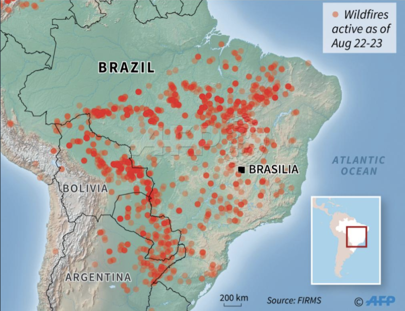 A map of the ongoing fires in Brazil. Source: AFP