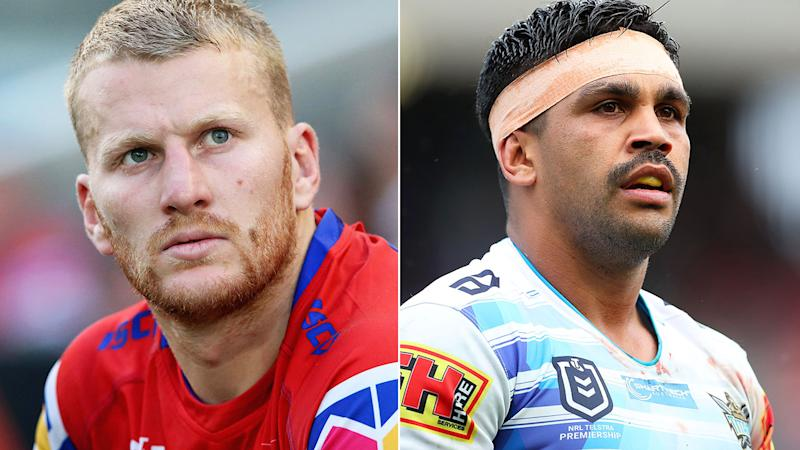 Pictured here, Newcastle player Mitch Barnett and Gold Coast star Tyrone Peachey.