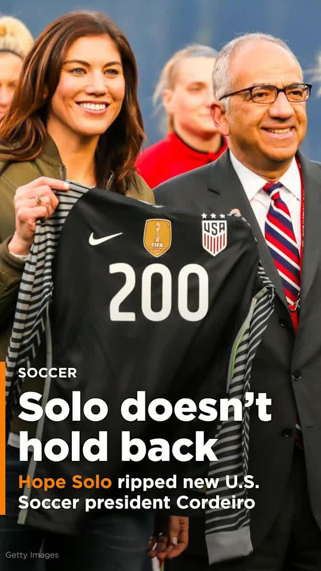 Hope Solo ripped new U.S. Soccer president Carlos Cordeiro in her pre-election speech