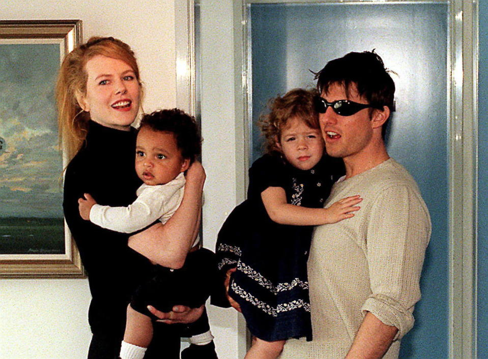 Tom Cruise, with his Australian actress wife, Nicole Kidman, and children, Isabella and Connor, at Jet Charter Centre after arriving in Sydney for a family holiday. (Photo by Newspix/Getty Images)