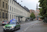 Police cars attend the scene of an incident in Wuerzburg, Germany, Friday June 25, 2021. German police say several people have been injured in an incident in the southern city of Wuerzburg. (Carolin Gi'ibl/dpa via AP)