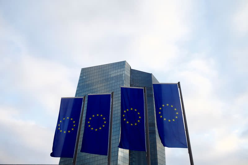 EU flags fly in front of European Central Bank headquarters in Frankfurt