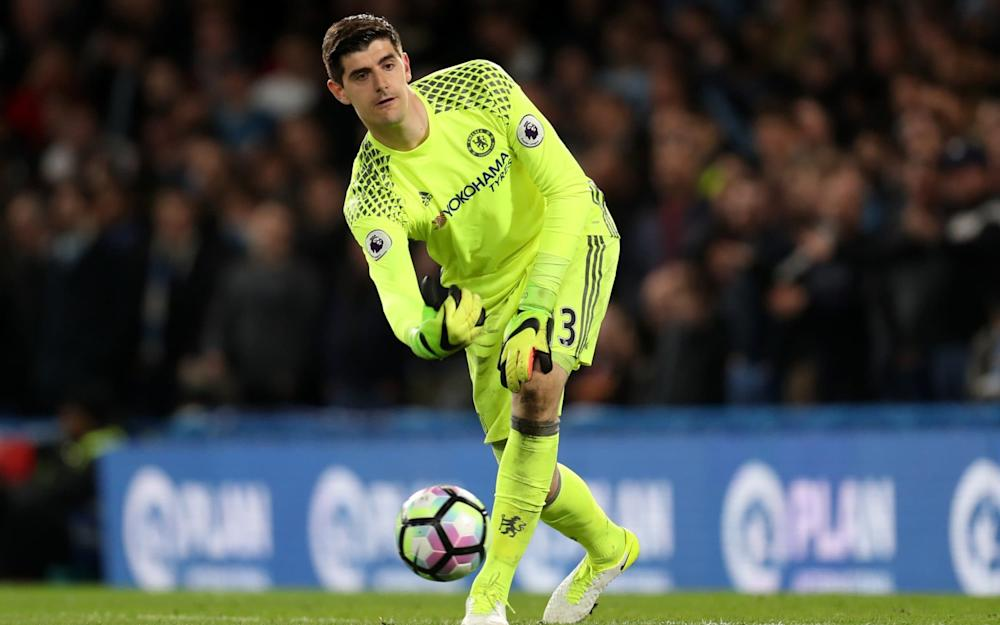 Thibaut Courtois during the Premier League match between Chelsea and Manchester City played at Stamford Bridge - Credit: Rex