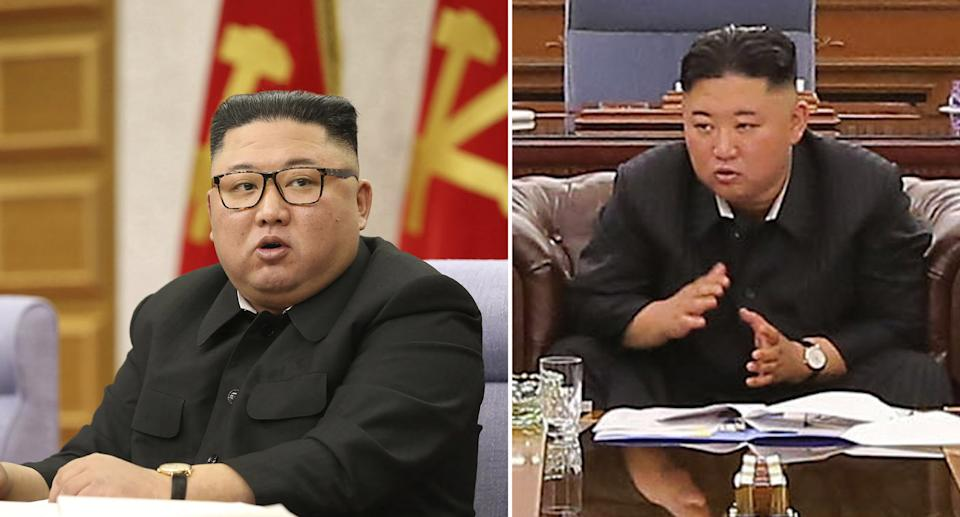 Kim Jong-un is pictured in February on the left. He is pictured again on the right on Monday.