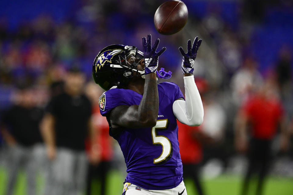 Baltimore Ravens wide receiver Marquise Brown has scored a touchdown in eight of his last 10 regular season games. (Tommy Gilligan/USA TODAY Sports)