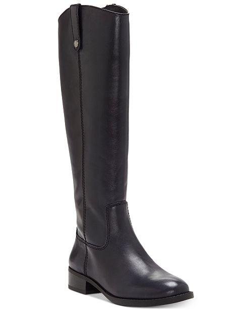 """<p>You ca't go wrong with these <a href=""""https://www.popsugar.com/buy/INC-Fawne-Wide-Calf-Riding-Leather-Boots-505956?p_name=INC%20Fawne%20Wide-Calf%20Riding%20Leather%20Boots&retailer=macys.com&pid=505956&price=108&evar1=fab%3Aus&evar9=46799976&evar98=https%3A%2F%2Fwww.popsugar.com%2Ffashion%2Fphoto-gallery%2F46799976%2Fimage%2F46799977%2FINC-Fawne-Wide-Calf-Riding-Leather-Boots&list1=shopping%2Cfall%20fashion%2Cshoes%2Cboots%2Cfall%2Cfall%20shoes%2Cmacys&prop13=mobile&pdata=1"""" rel=""""nofollow"""" data-shoppable-link=""""1"""" target=""""_blank"""" class=""""ga-track"""" data-ga-category=""""Related"""" data-ga-label=""""https://www.macys.com/shop/product/inc-fawne-wide-calf-riding-leather-boots-created-for-macys?ID=4828744&amp;CategoryID=25122"""" data-ga-action=""""In-Line Links"""">INC Fawne Wide-Calf Riding Leather Boots</a> ($108, originally $180). We'd pair them with a midi skirt or minidress.</p>"""