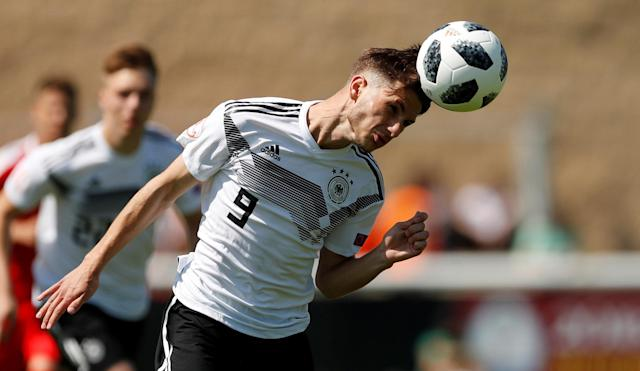 Soccer Football - UEFA European Under-17 Championship - Group D - Serbia v Germany - Loughborough University Stadium, Loughborough, Britain - May 8, 2018 Germany's Leon Dajaku in action Action Images via Reuters/Andrew Boyers
