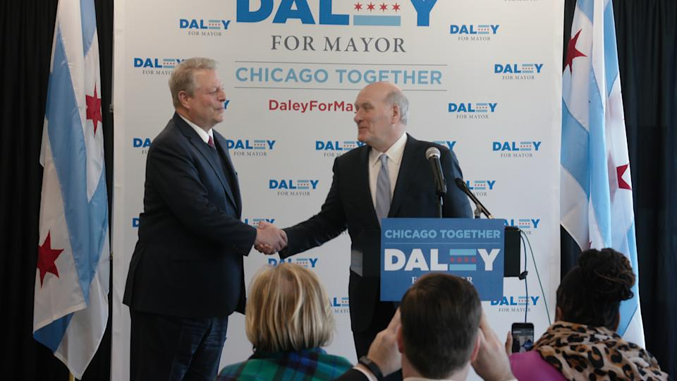 "Al Gore and Bill Daley shake hands at a Daley campaign event. (Chicago Story Film, LLC)<span class=""copyright"">Chicago Story Film, LLC</span>"