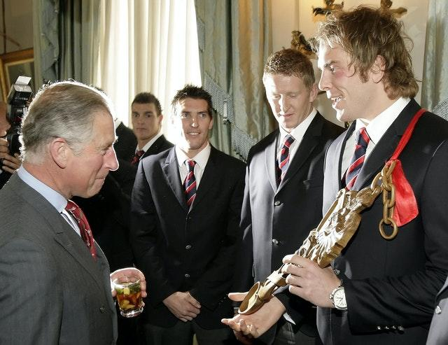 Alun Wyn Jones, right, meets the Prince of Wales